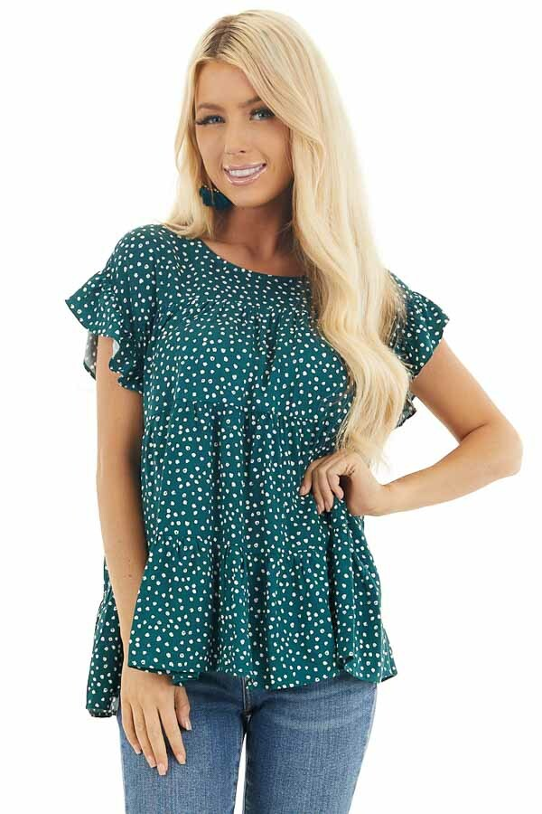 Jade Green Short Sleeve Printed Top with Keyhole Back Detail front close up
