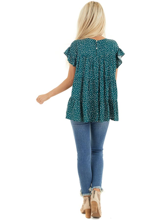Jade Green Short Sleeve Printed Top with Keyhole Back Detail back full body
