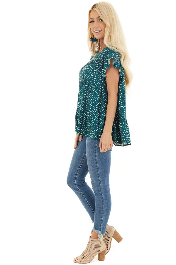 Jade Green Short Sleeve Printed Top with Keyhole Back Detail side full body