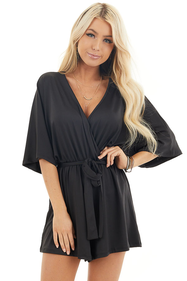 Black Short Sleeve Surplice Romper with Front Tie Detail front close up