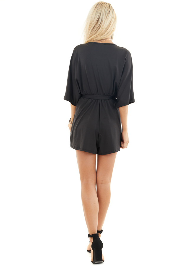 Black Short Sleeve Surplice Romper with Front Tie Detail back full body