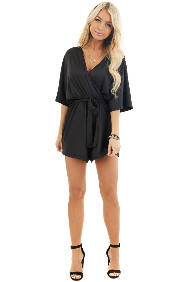 Black Short Sleeve Surplice Romper with Front Tie Detail front full body