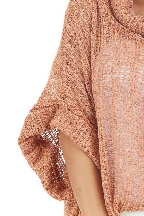 Peach Sheer Knit Oversized Top with Cowl Neckline detail