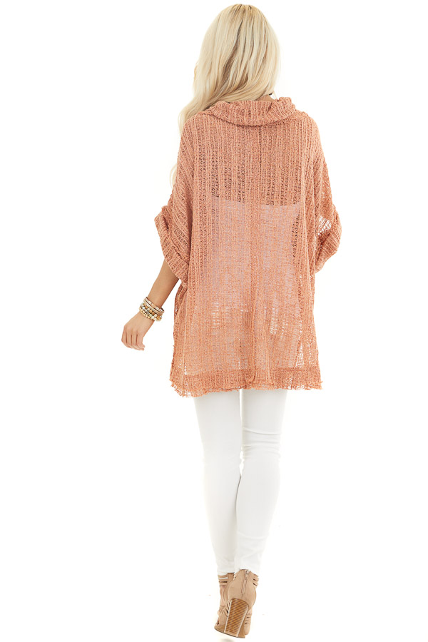 Peach Sheer Knit Oversized Top with Cowl Neckline back full body