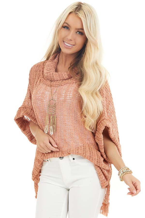 Peach Sheer Knit Oversized Top with Cowl Neckline front close up