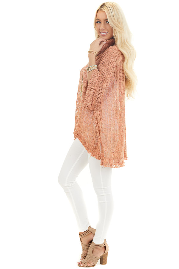 Peach Sheer Knit Oversized Top with Cowl Neckline side full body