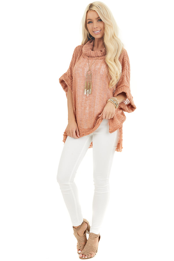 Peach Sheer Knit Oversized Top with Cowl Neckline front full body