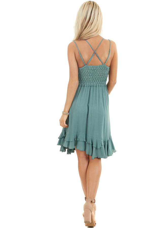 Sage Green Mini Dress with Lace and Double Ruffle Hemline back full body