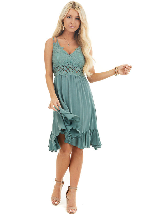 Sage Green Mini Dress with Lace and Double Ruffle Hemline front full body