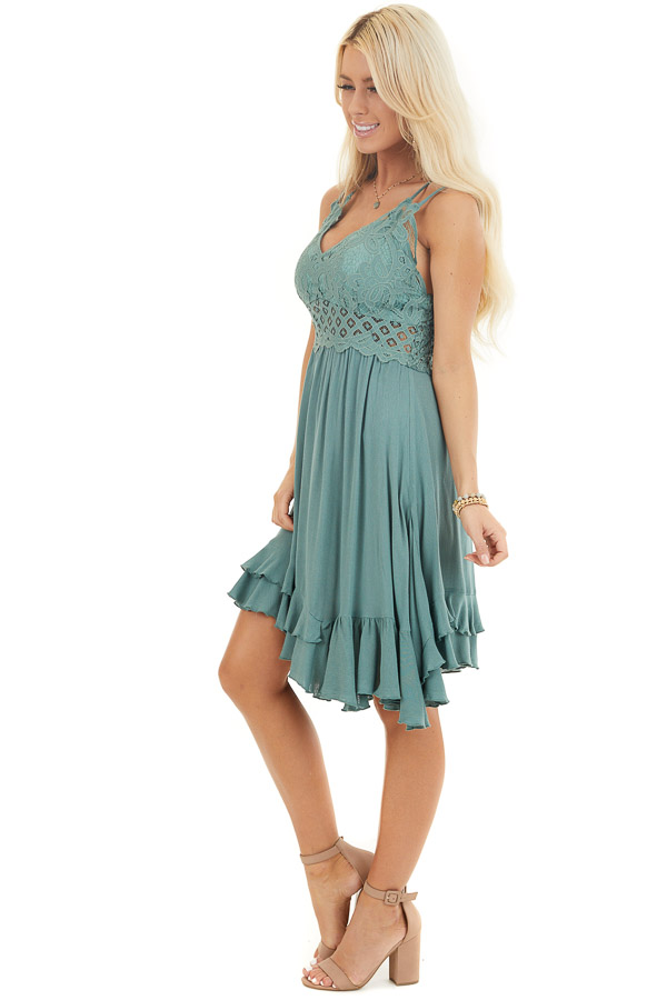Sage Green Mini Dress with Lace and Double Ruffle Hemline side full body