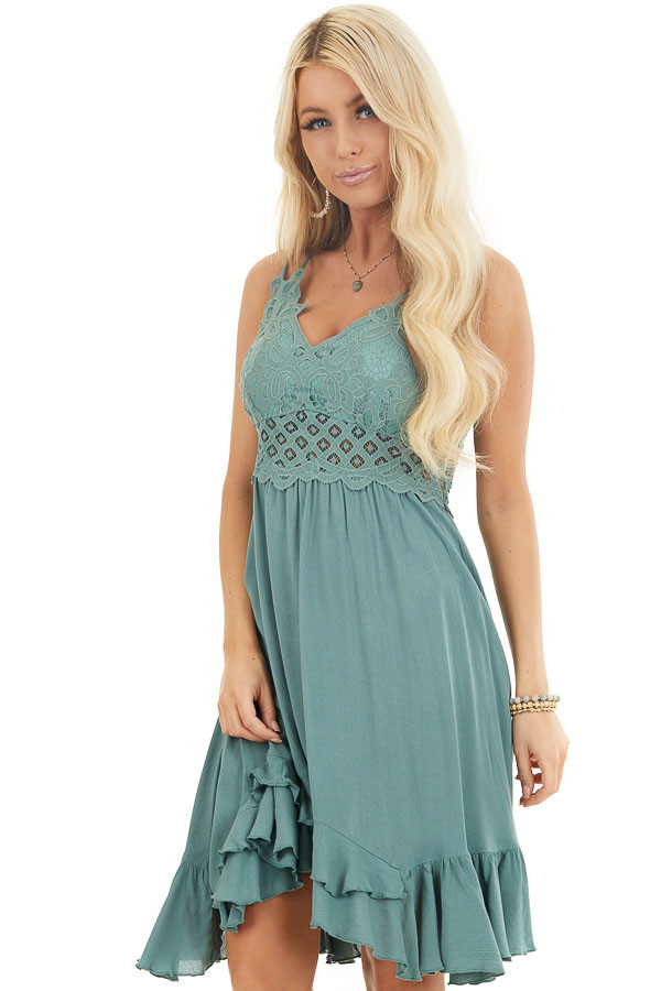 Sage Green Mini Dress with Lace and Double Ruffle Hemline front close up