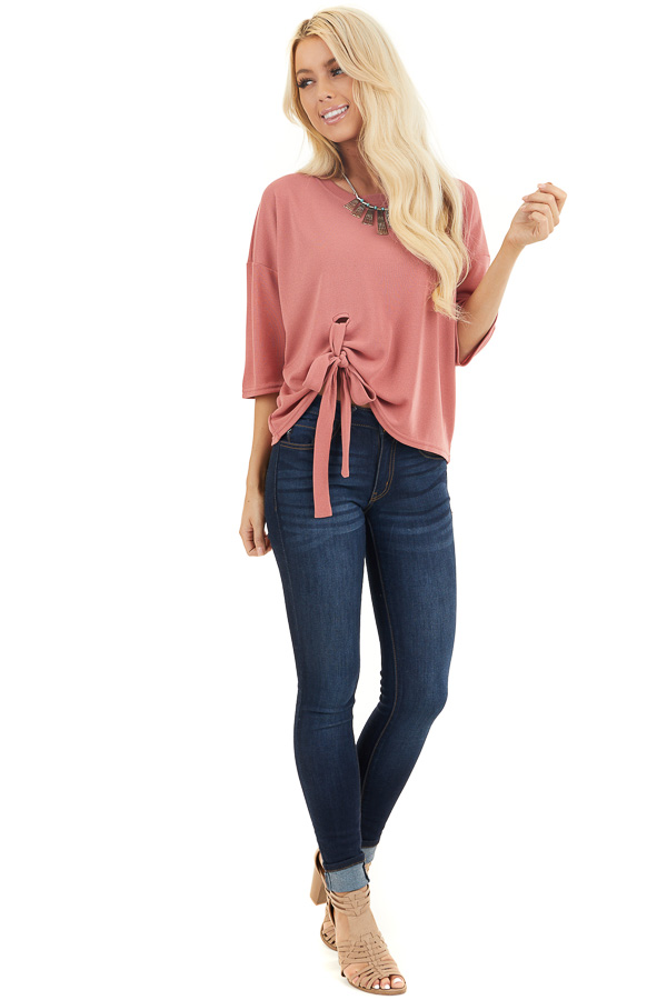 Dusty Coral Knit Top with 3/4 Length Sleeves and Front Tie front full body