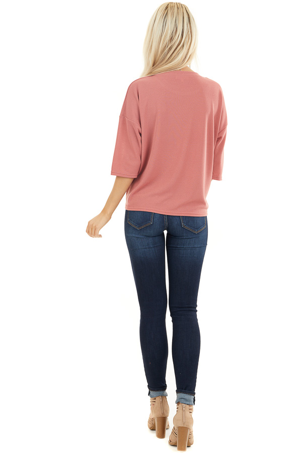 Dusty Coral Knit Top with 3/4 Length Sleeves and Front Tie back full body