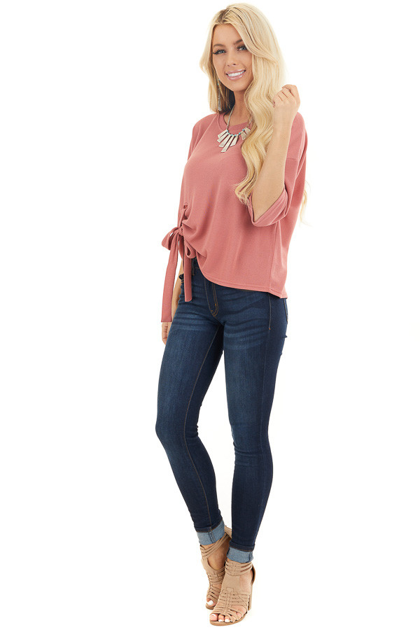 Dusty Coral Knit Top with 3/4 Length Sleeves and Front Tie side full body