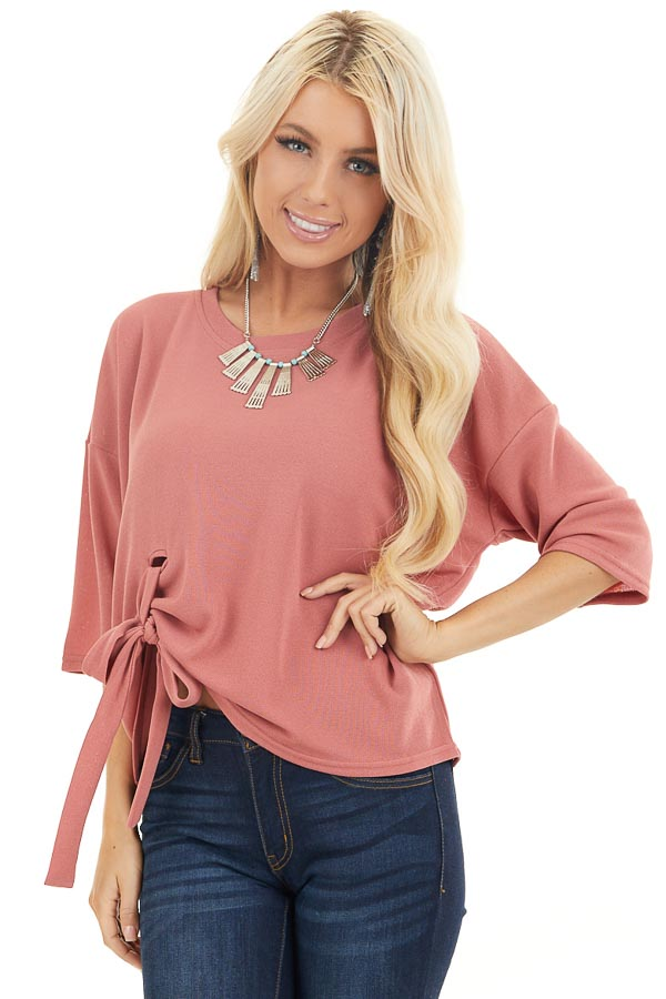 Dusty Coral Knit Top with 3/4 Length Sleeves and Front Tie front close up
