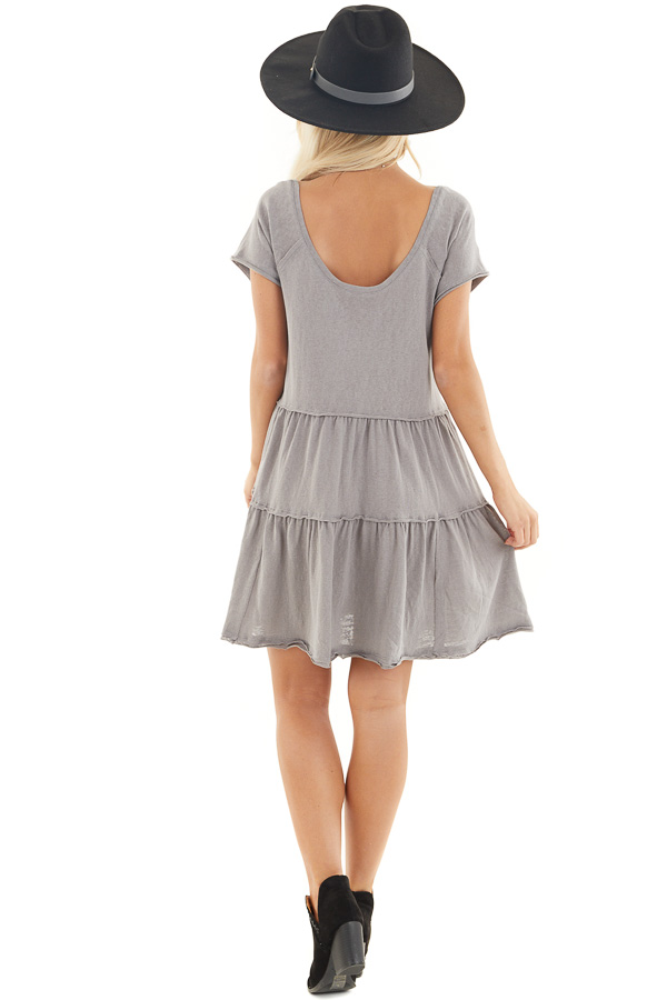 Dove Tiered Short Sleeve Mini Dress with Scooped Neckline back full body