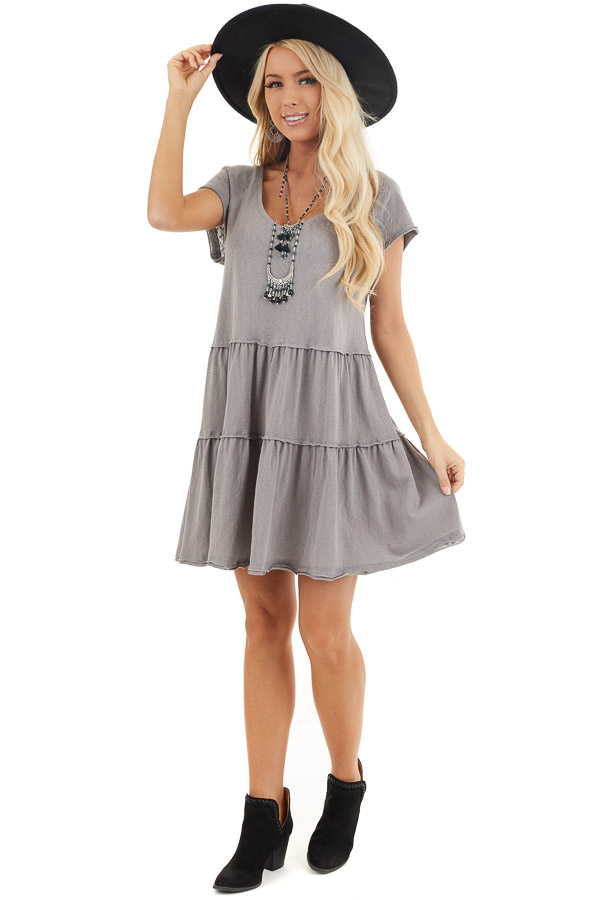 Dove Tiered Short Sleeve Mini Dress with Scooped Neckline front full body