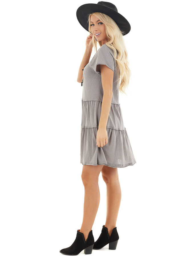 Dove Tiered Short Sleeve Mini Dress with Scooped Neckline side full body