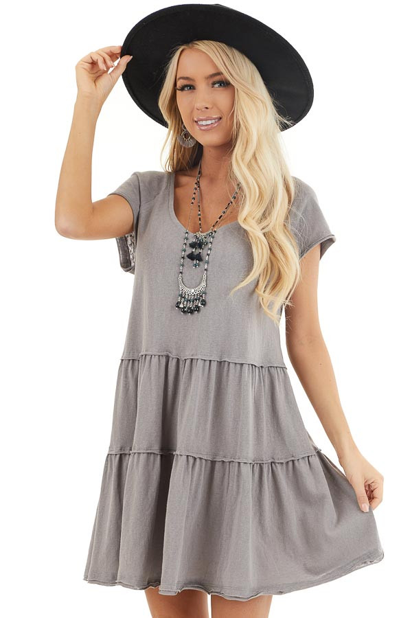 Dove Tiered Short Sleeve Mini Dress with Scooped Neckline front close up