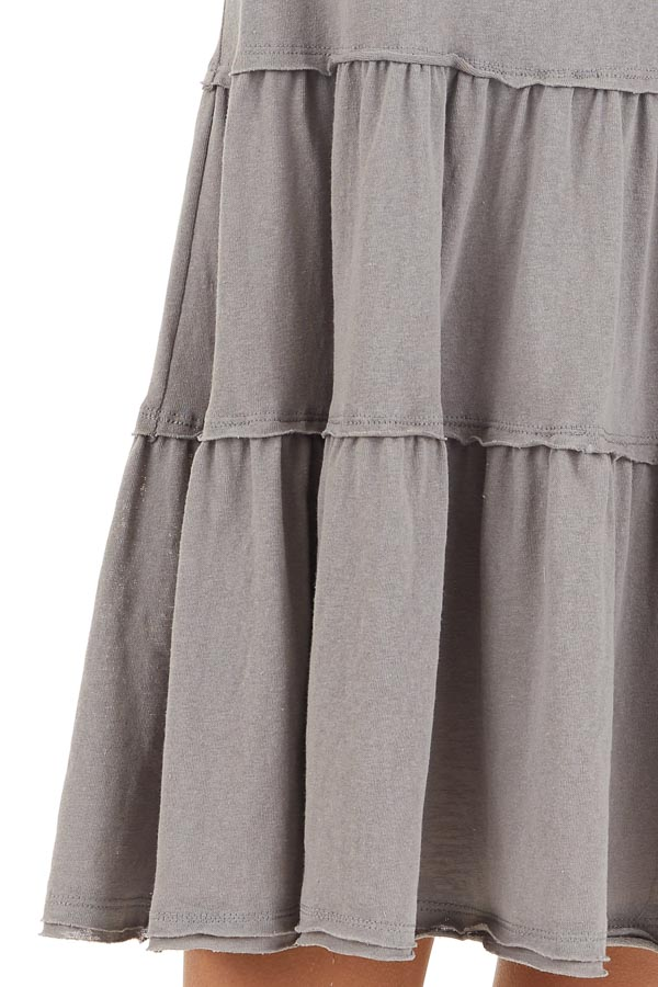 Dove Tiered Short Sleeve Mini Dress with Scooped Neckline detail