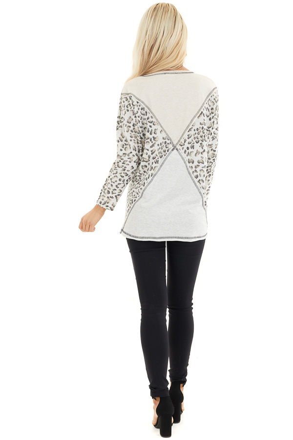 Oatmeal and Leopard Color Block Top with Long Sleeves back full body