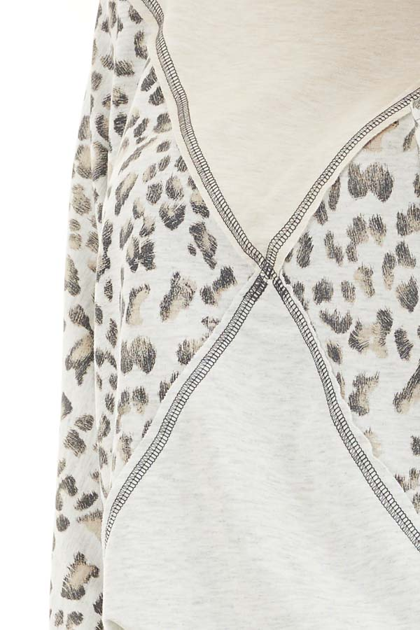 Oatmeal and Leopard Color Block Top with Long Sleeves detail