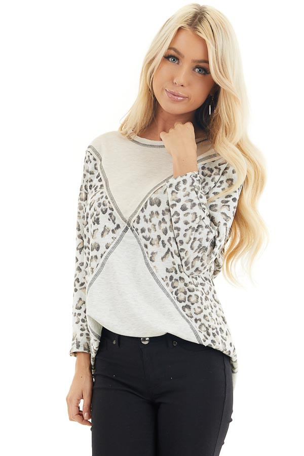 Oatmeal and Leopard Color Block Top with Long Sleeves front close up