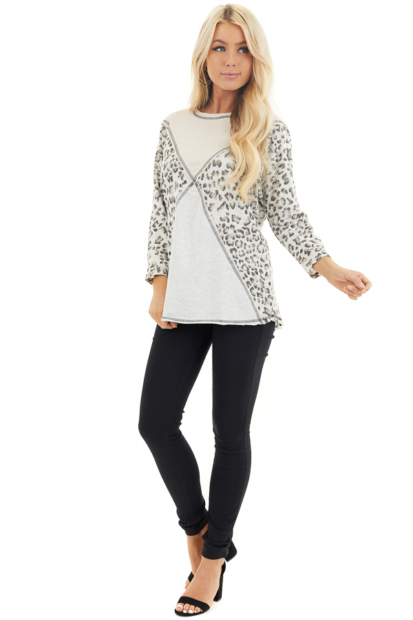 Oatmeal and Leopard Color Block Top with Long Sleeves front full body