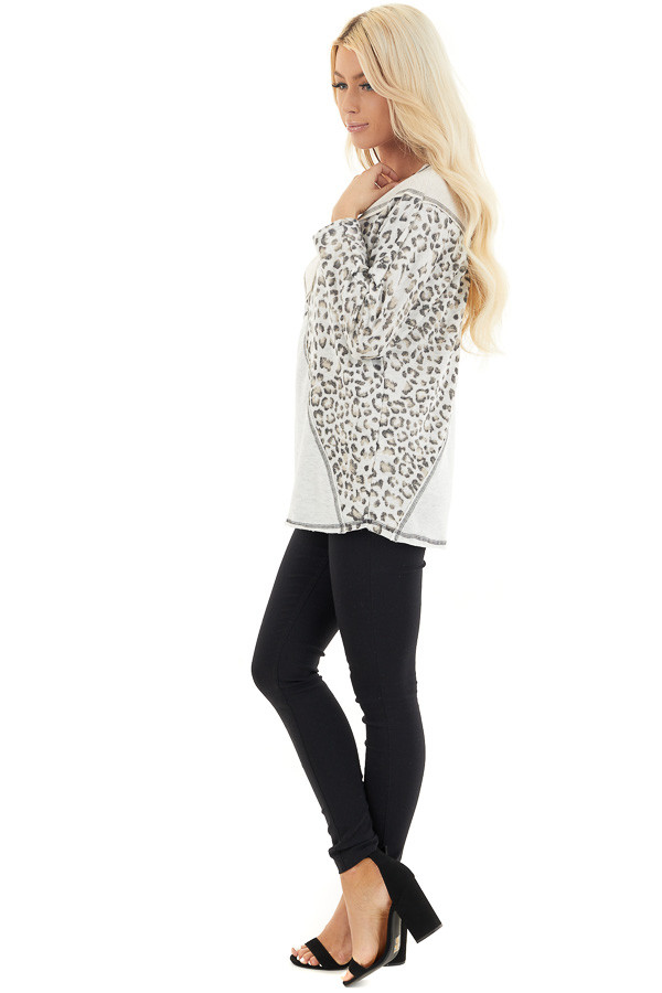 Oatmeal and Leopard Color Block Top with Long Sleeves side full body