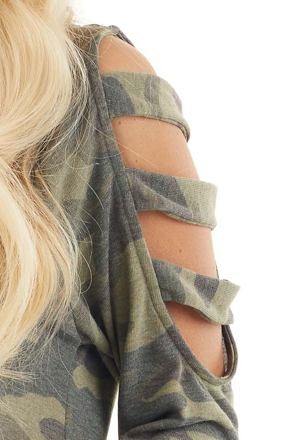 Olive Camo Print V Neckline Top with Ladder Cutout Sleeves detail