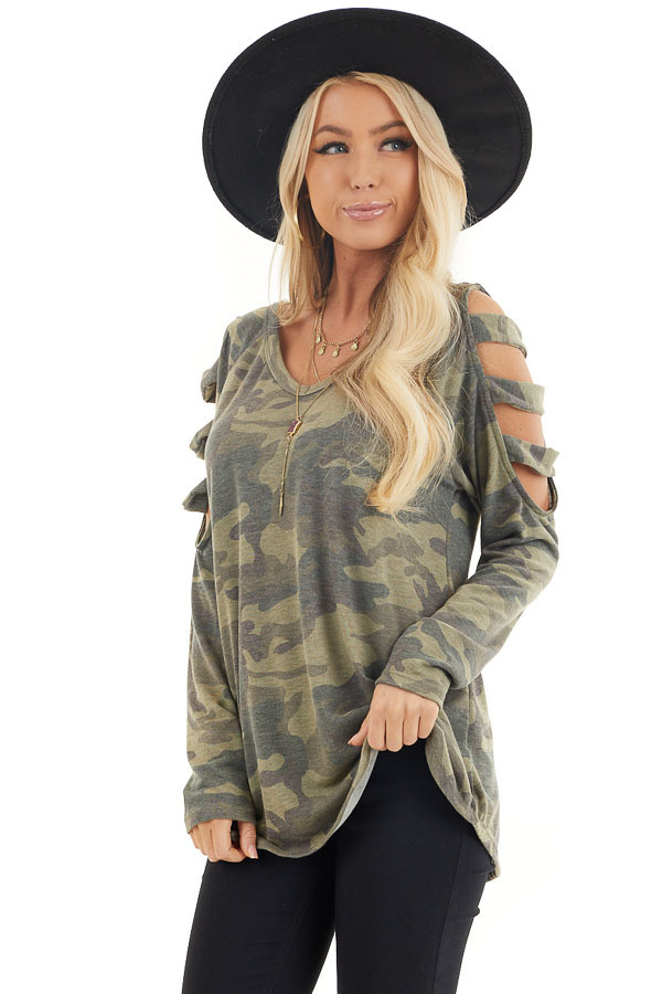 Olive Camo Print V Neckline Top with Ladder Cutout Sleeves front close up