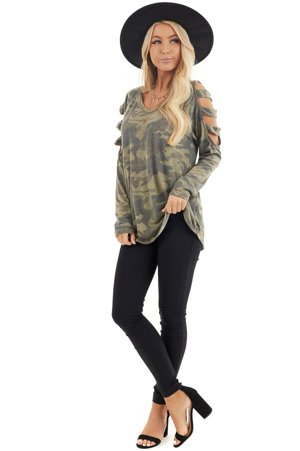 Olive Camo Print V Neckline Top with Ladder Cutout Sleeves front full body
