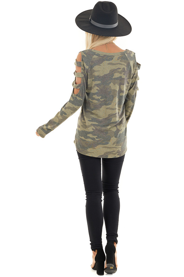 Olive Camo Print V Neckline Top with Ladder Cutout Sleeves back full body