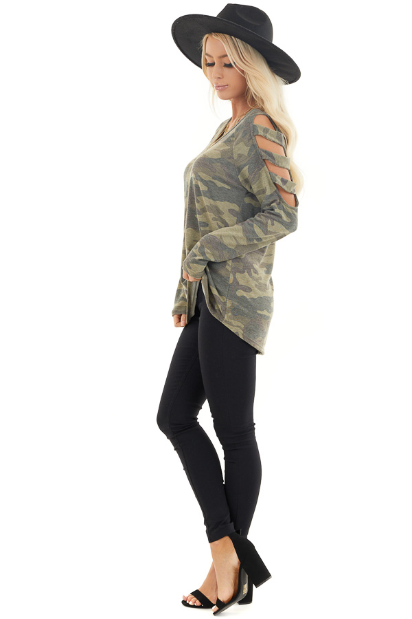 Olive Camo Print V Neckline Top with Ladder Cutout Sleeves side full body