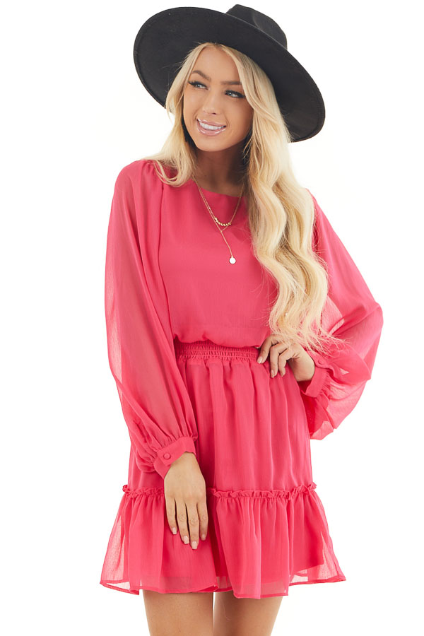 Hot Pink Smocked Waist Mini Dress with Long Peasant Sleeves front close up