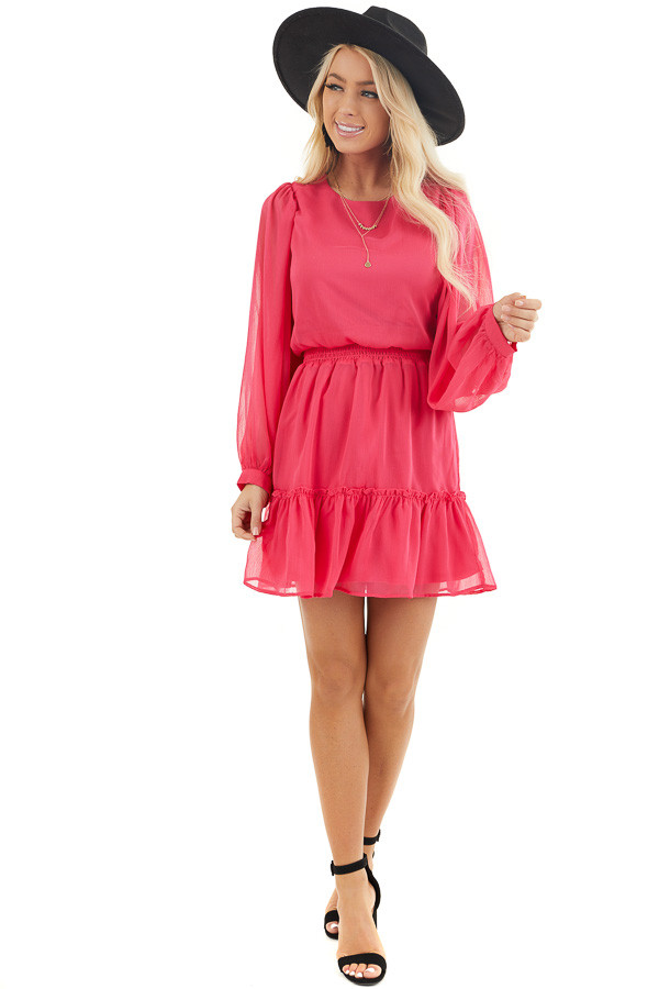 Hot Pink Smocked Waist Mini Dress with Long Peasant Sleeves front full body