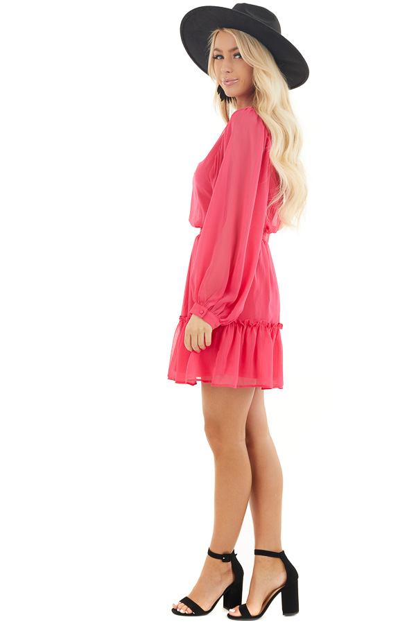 Hot Pink Smocked Waist Mini Dress with Long Peasant Sleeves side full body