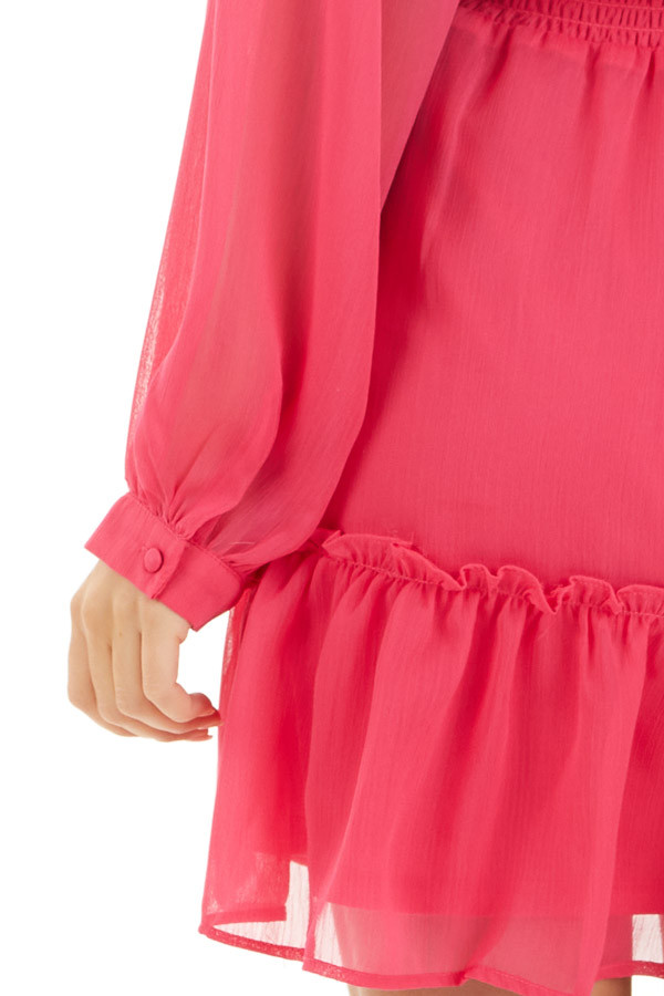 Hot Pink Smocked Waist Mini Dress with Long Peasant Sleeves detail