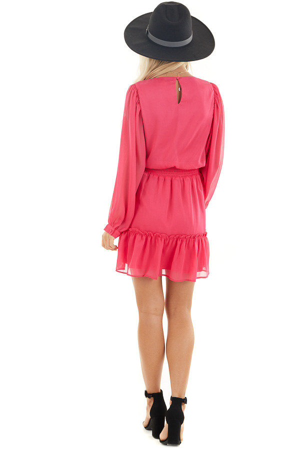 Hot Pink Smocked Waist Mini Dress with Long Peasant Sleeves back full body