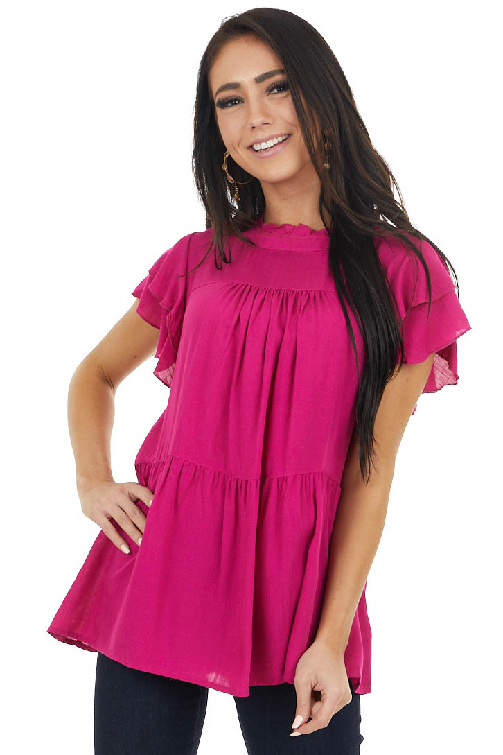 Fuchsia High Neck Top with Double Ruffled Short Sleeves