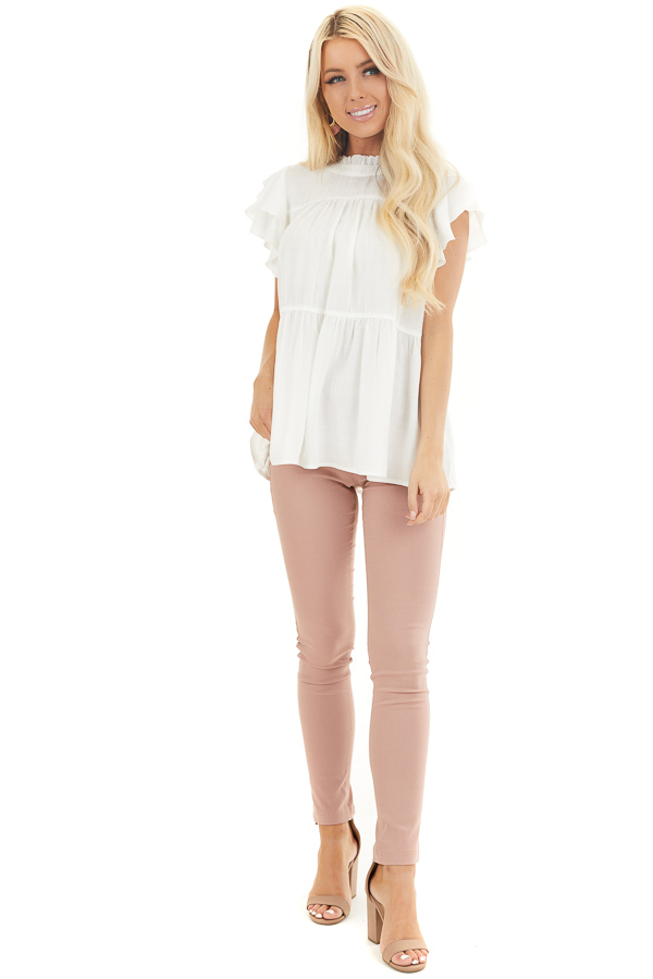 Pearl High Neck Top with Double Ruffled Short Sleeves front full body