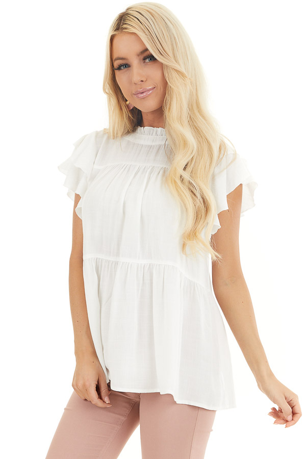 Pearl High Neck Top with Double Ruffled Short Sleeves front close up