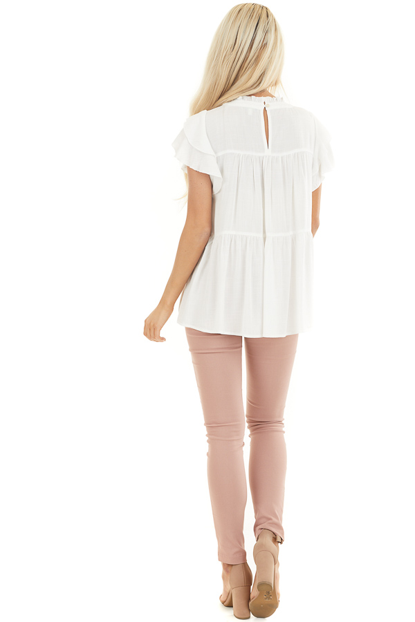 Pearl High Neck Top with Double Ruffled Short Sleeves back full body