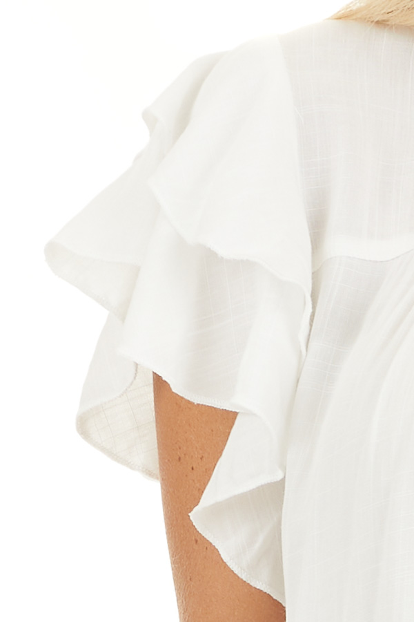 Pearl High Neck Top with Double Ruffled Short Sleeves detail