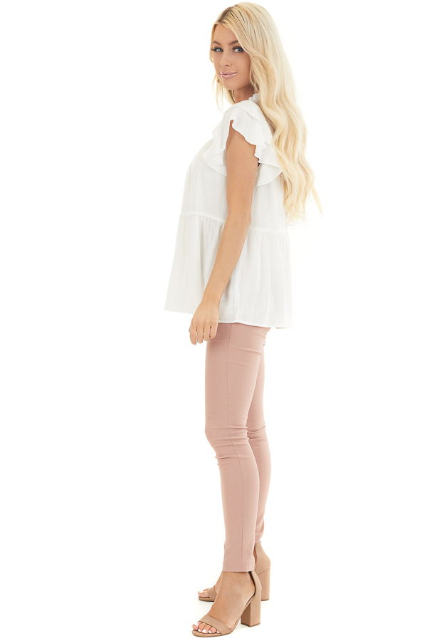 Pearl High Neck Top with Double Ruffled Short Sleeves side full body