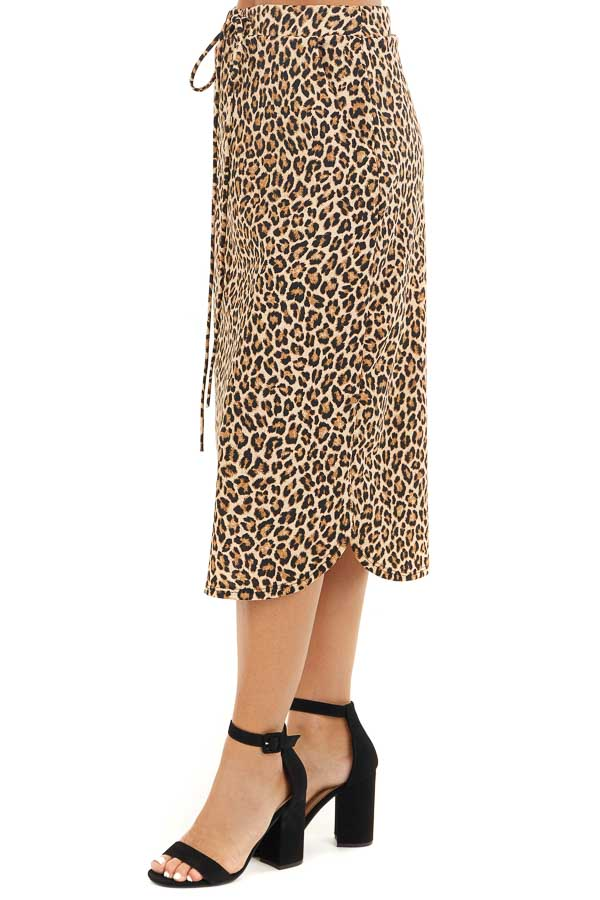 Toffee Leopard Print Midi Skirt with Pockets and Drawstring side view