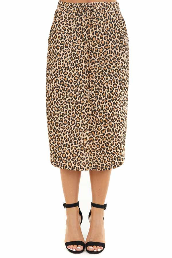 Toffee Leopard Print Midi Skirt with Pockets and Drawstring front view