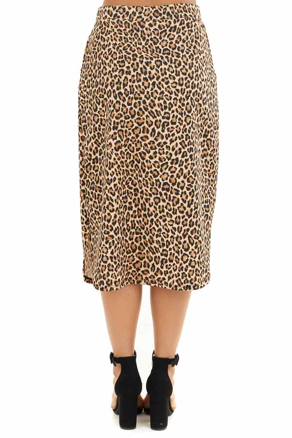 Toffee Leopard Print Midi Skirt with Pockets and Drawstring back view