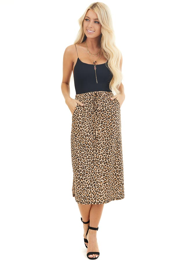 Toffee Leopard Print Midi Skirt with Pockets and Drawstring front full body