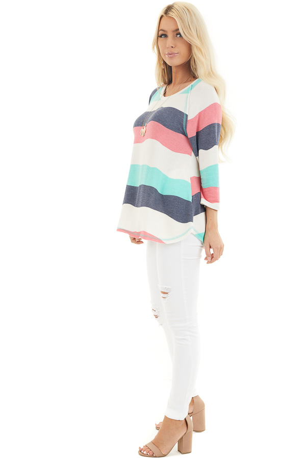 Ivory Multicolor Wavy Striped 3/4 Sleeve Knit Top side full body